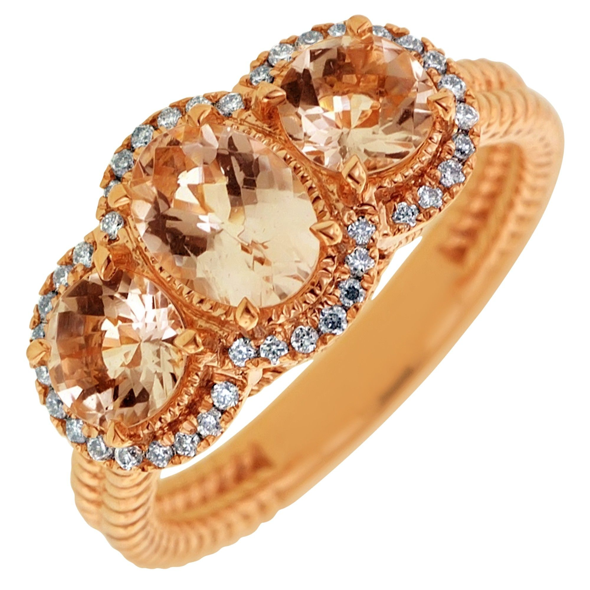 Colore Oro Morganite Ring in 14kt Rose Gold with Diamonds