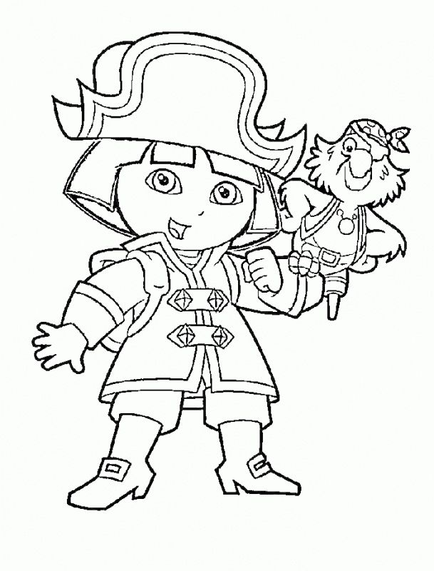 Dora The Explorer Playing Pirates Coloring Pages