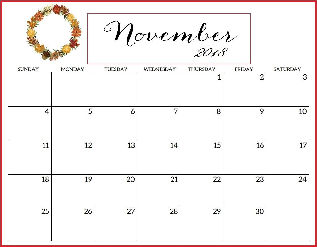 November 2018 Blank Printable Calendar Download Calendar 2018