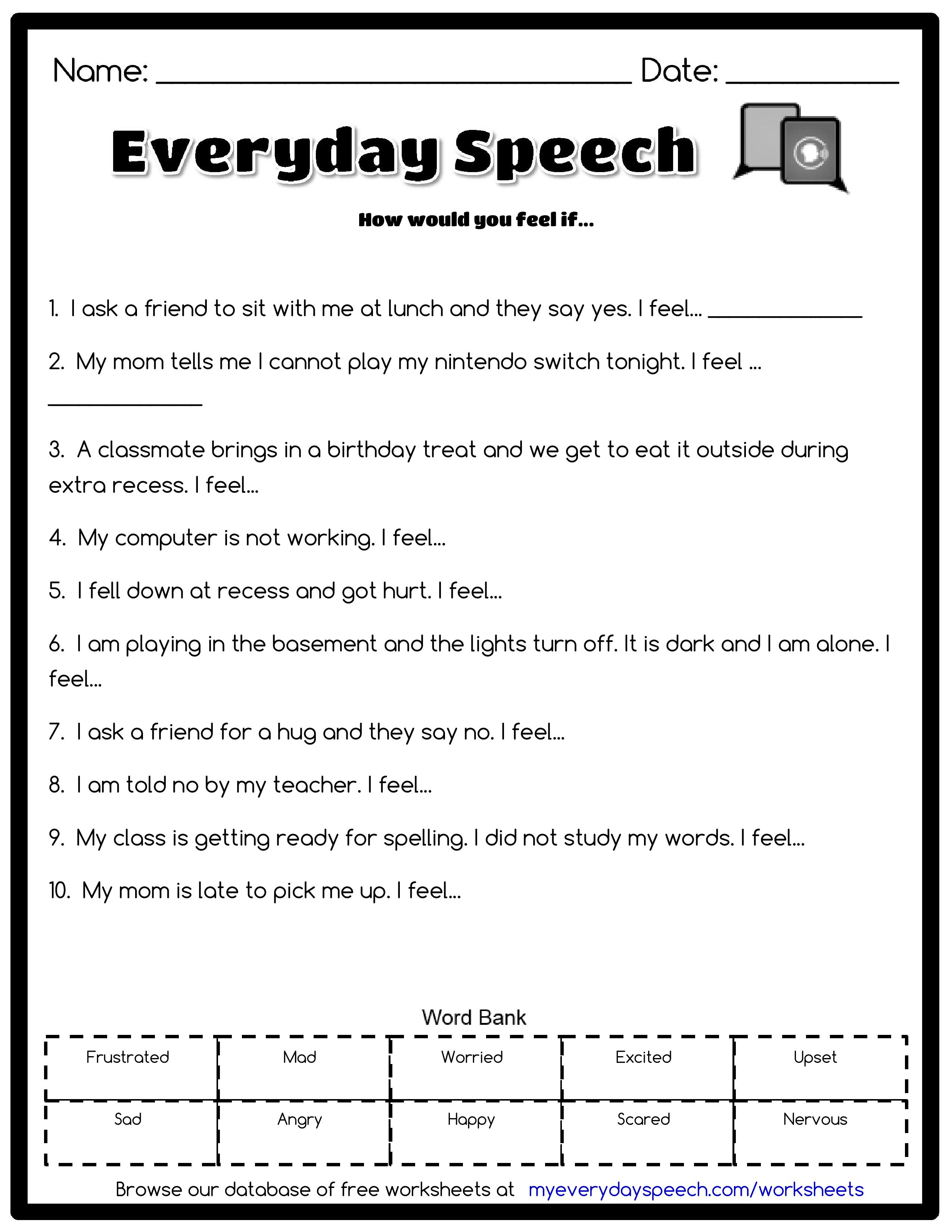 Check Out The Worksheet I Just Made Using Everyday Speech S Worksheet Creator How Would You Feel If Grammar Bundle Parts Of Speech Speech Therapy Worksheets