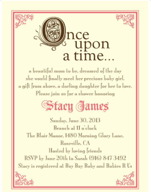 My Fairytale Baby Shower Invites Party Baby Girl Shower