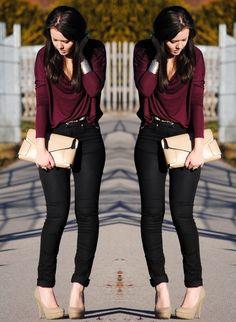 Outfit Blusa Vino - Buscar Con Google | Look | Pinterest | Blusas Buscar Con Google Y Buscando