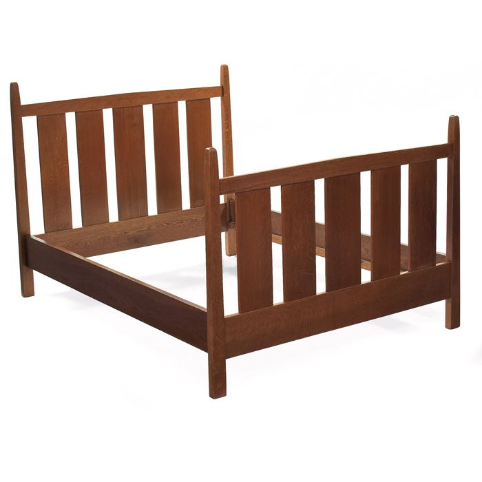 GUSTAV STICKLEY: Double-size Bed, #923, With Peaked Rails