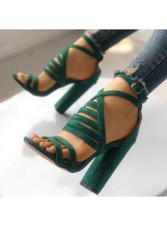 Femmes Suède Sandales Escarpins À bout ouvert avec Boucle chaussures (087288258)