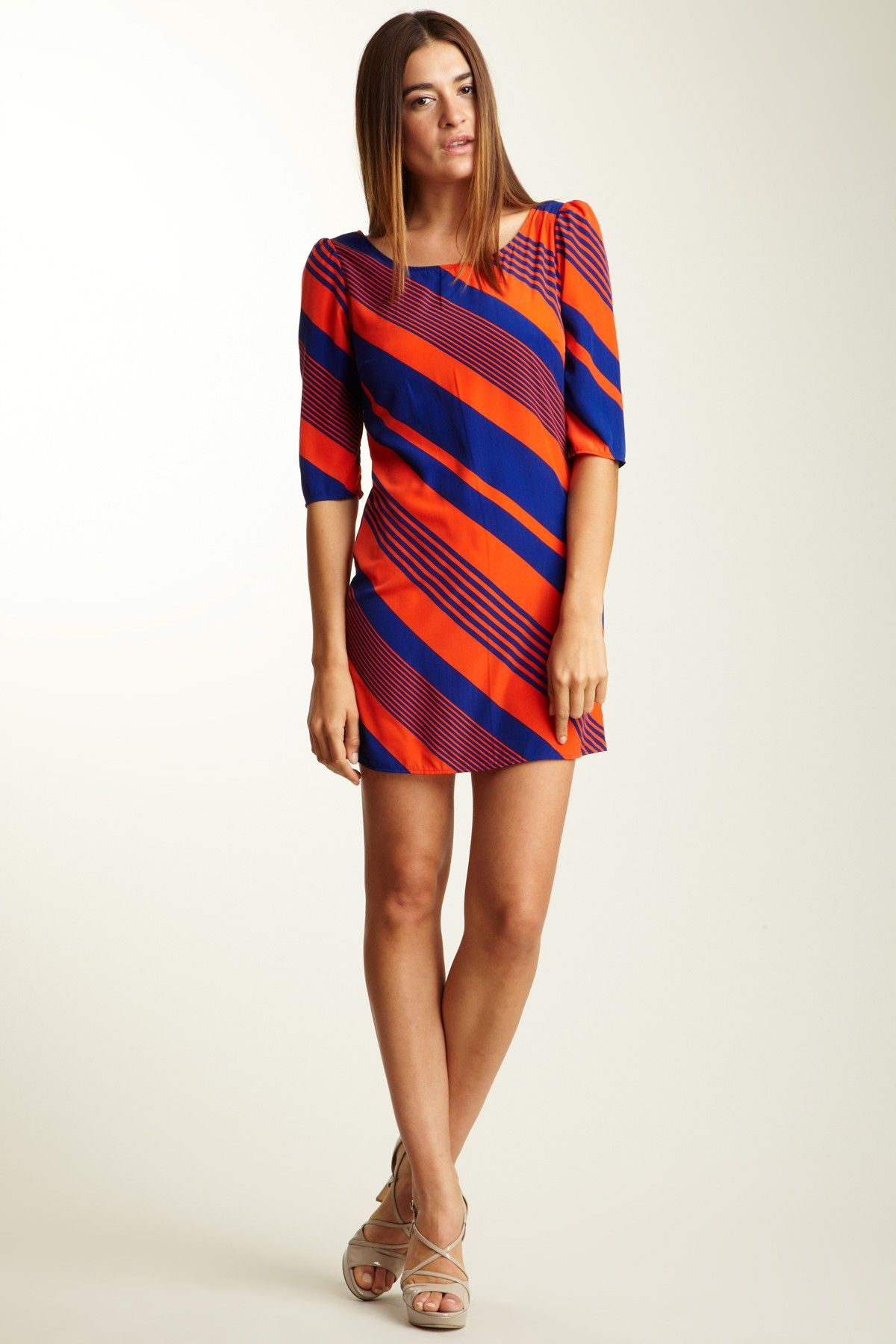 01a02e7c449 PINKOWL 3/4 Sleeve Diagonal Print Tunic dress ~ Super cute, would wear with  leggings though