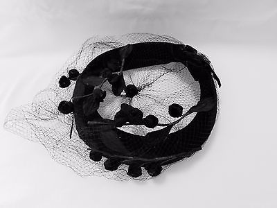 Vintage Black Velvet Cocktail Hat Netting Leaves Berries For Repair