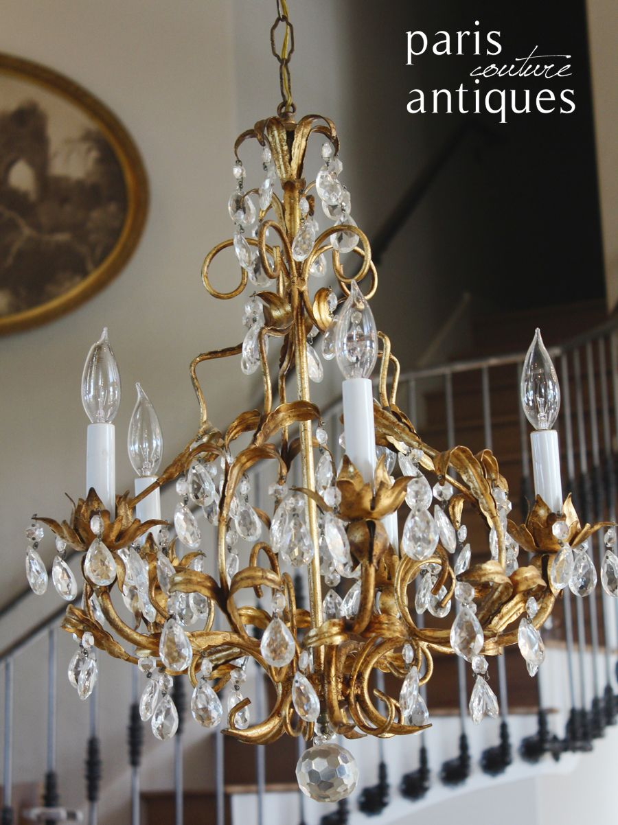 Italian tole gilt crystal prisms antique chandelier a moda chandeliers mirrors art handbags jewels and eclectic finds for todays chic home mozeypictures Gallery