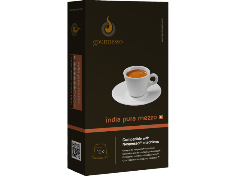 GOURMESSO INDIA PURA MEZZO kávékapszula Nespresso kávéfőzőhöz - GOURMESSO INDIA PURA MEZZO capsules for Nespresso capsule coffee machines