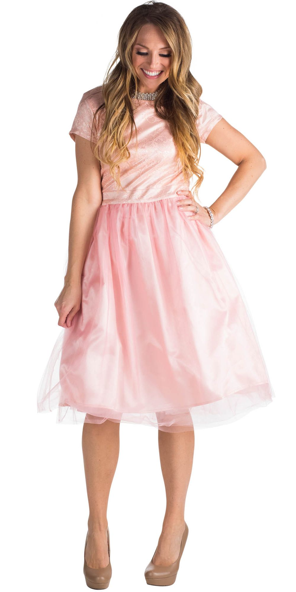 Bella Tulle Modest Prom or Bridesmaid Dress - Pink Champagne / Blush ...