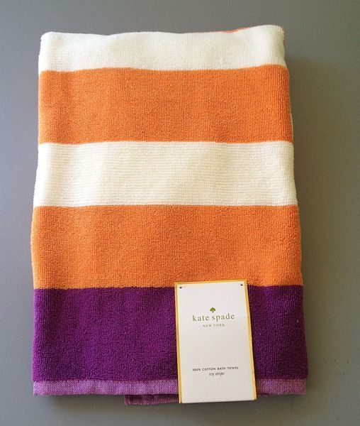 Kate Spade Bathroom Towels Set Of 2 Cotton Orange White Purple