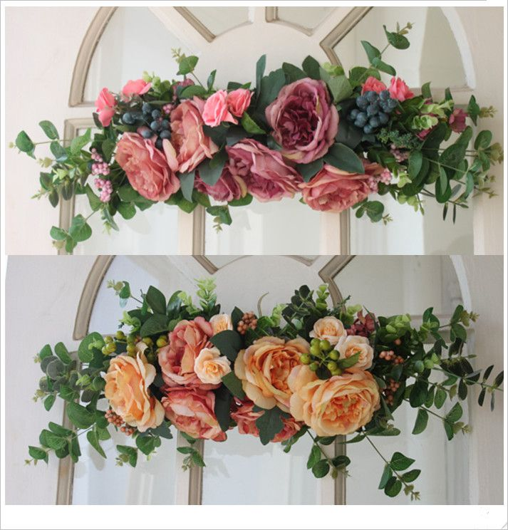 Q Free Shipping Wreath Door Trim Front Wall Lintel Silk Flowers ...