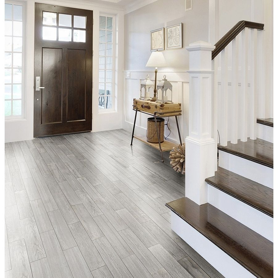 Shop Style Selections Eldon White Wood Look Porcelain Floor Tile - Shop Style Selections Eldon White Wood Look Porcelain Floor Tile