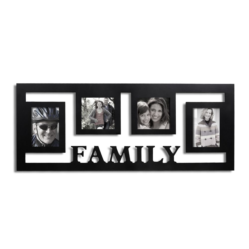 Adeco Decorative Black Wood Wall Hanging \'Family\' Floating Collage ...