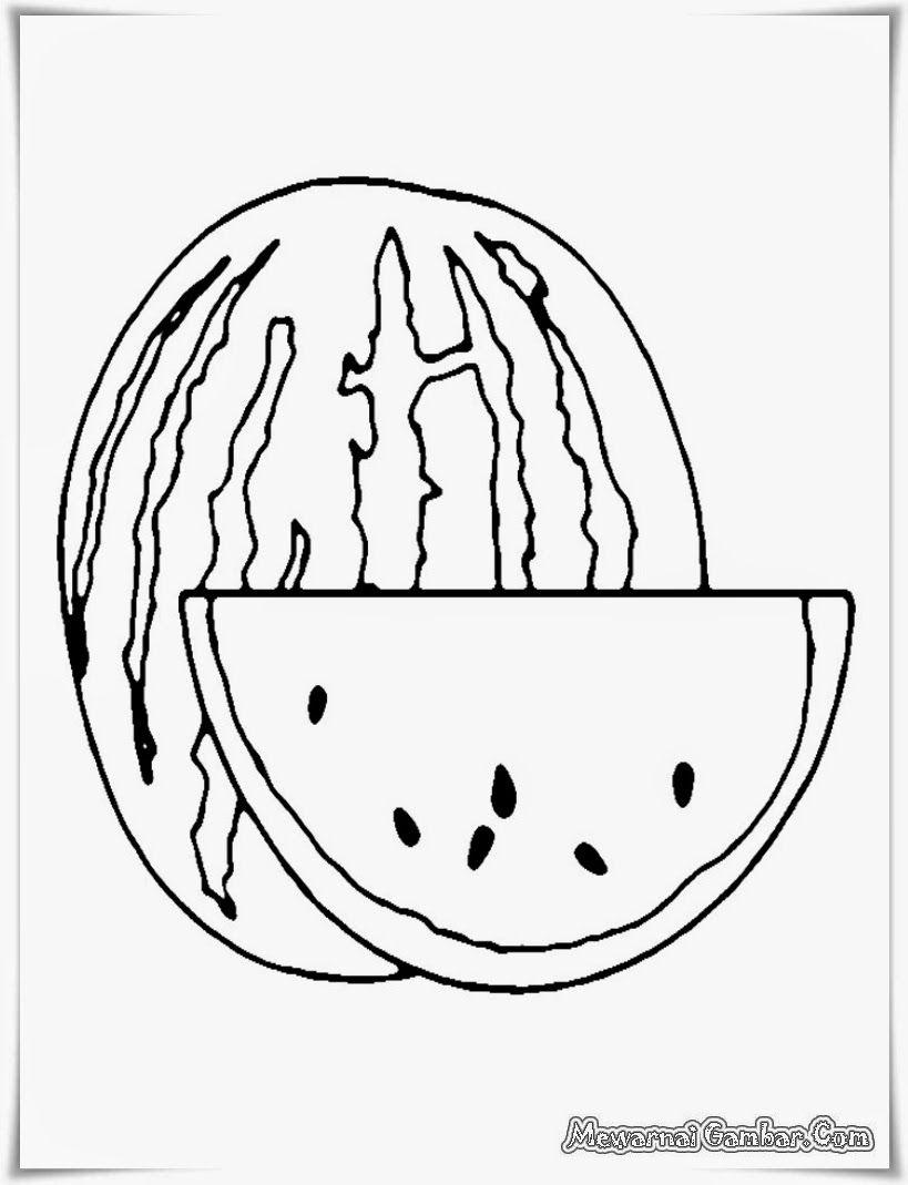 Gambar Semangka Hitam Putih : gambar, semangka, hitam, putih, Contoh, Gambar, Semangka, Untuk, Mewarnai, KataUcap