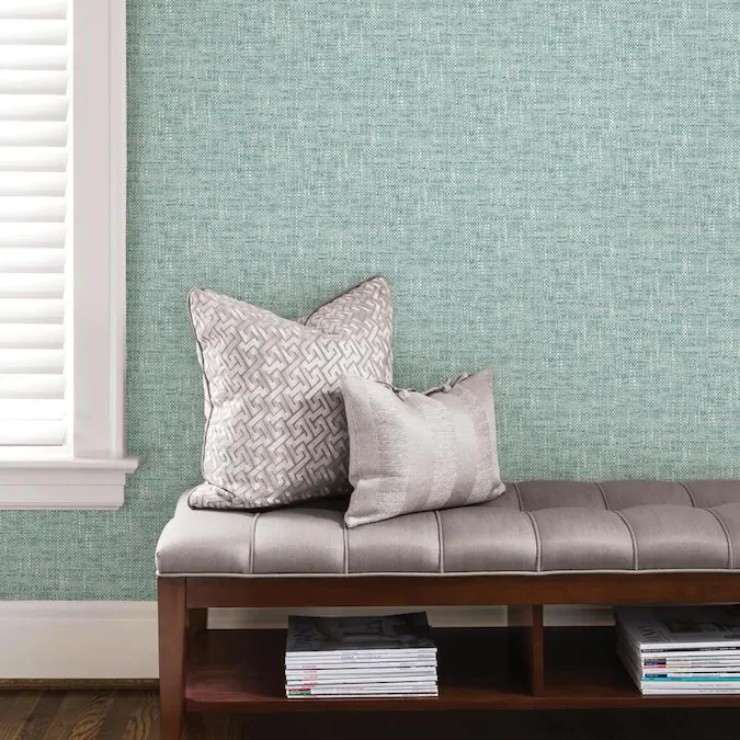 Nuwallpaper 30 75 Sq Ft Blue Vinyl Textured Abstract 3d Self Adhesive Peel And Stick Wallpaper Lowes Com In 2021 Peel And Stick Wallpaper Nuwallpaper Textured Wallpaper