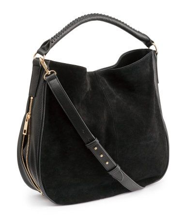 Classic black hobo-style handbag in imitation leather with a genuine suede  front section. One short shoulder strap 23b81b73b20a9