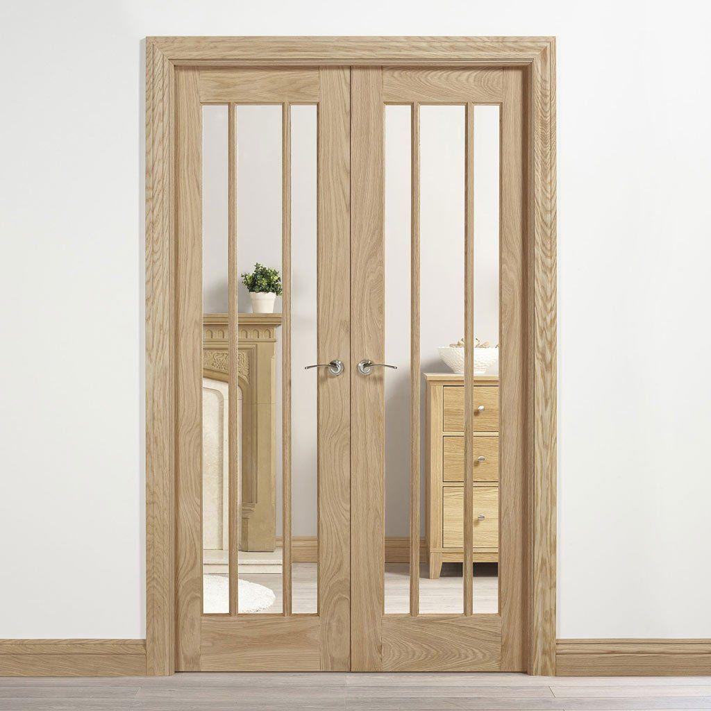 W4 Lincoln Room Divider Door Frame Kit Clear Glass Unfinished Oak 2031x1246mm Wide Room Divider Room Divider Doors Sliding Room Dividers