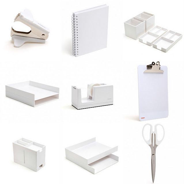 Pretty Office Supplies Jane I Love The White Stapler And White Trays Hint Office Desk Designs Home Office Furniture Sets White Desk Office