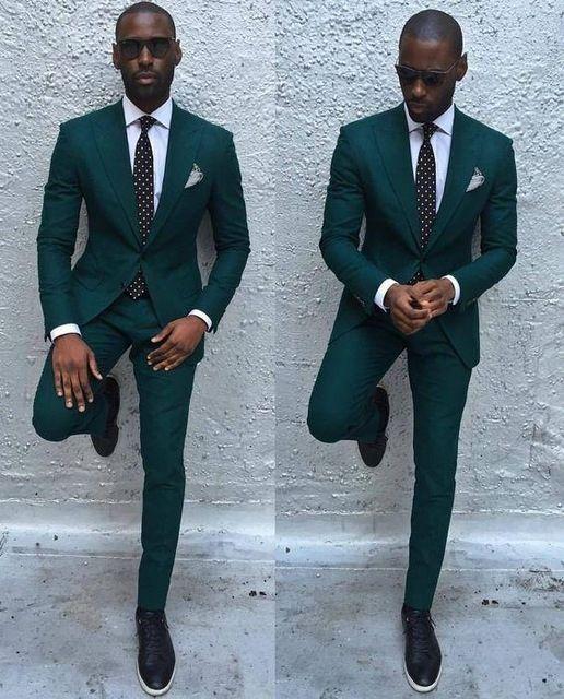 Two Button Dark Green Groom Tuxedos Mens Blazer Prom Business Dress ...