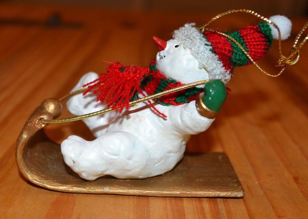 Adorable Sledding Snowman Christmas Tree Ornaments Scarf Hat Free