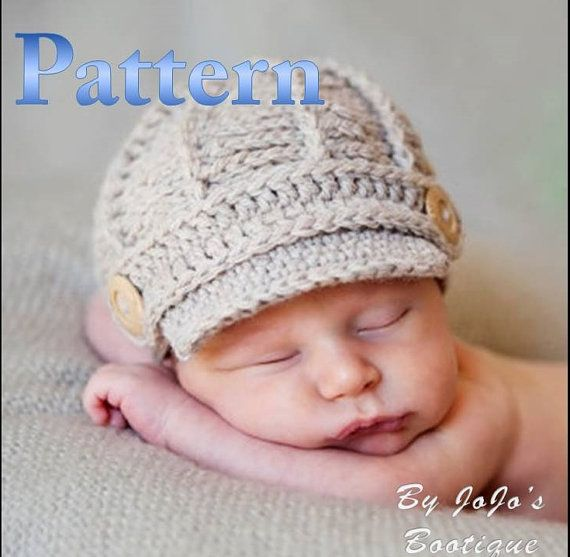 PDF Newsboy Hat PATTERN - Crochet Baby Newsboy Hat Pattern - Newborn ...