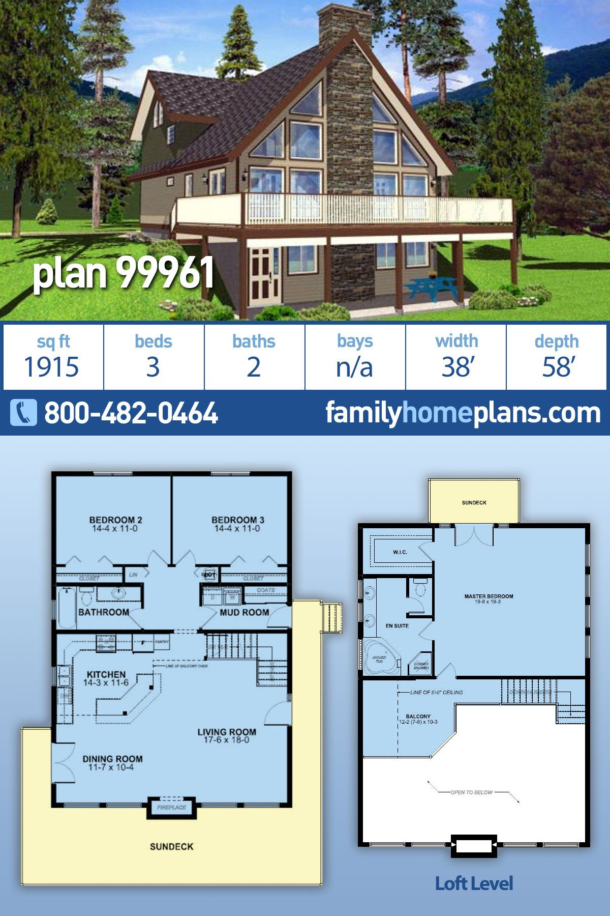 Traditional Style House Plan 99961 With 3 Bed 2 Bath Sloping
