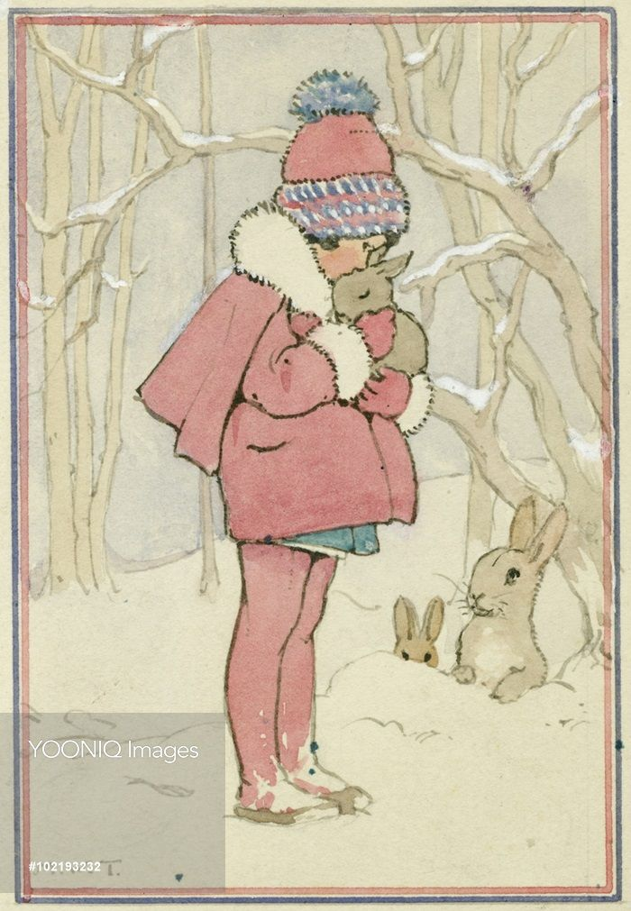 'Little Furry Friends' - girl with rabbits in the snow. A small girl hugs a baby bunny. Christmas card.
