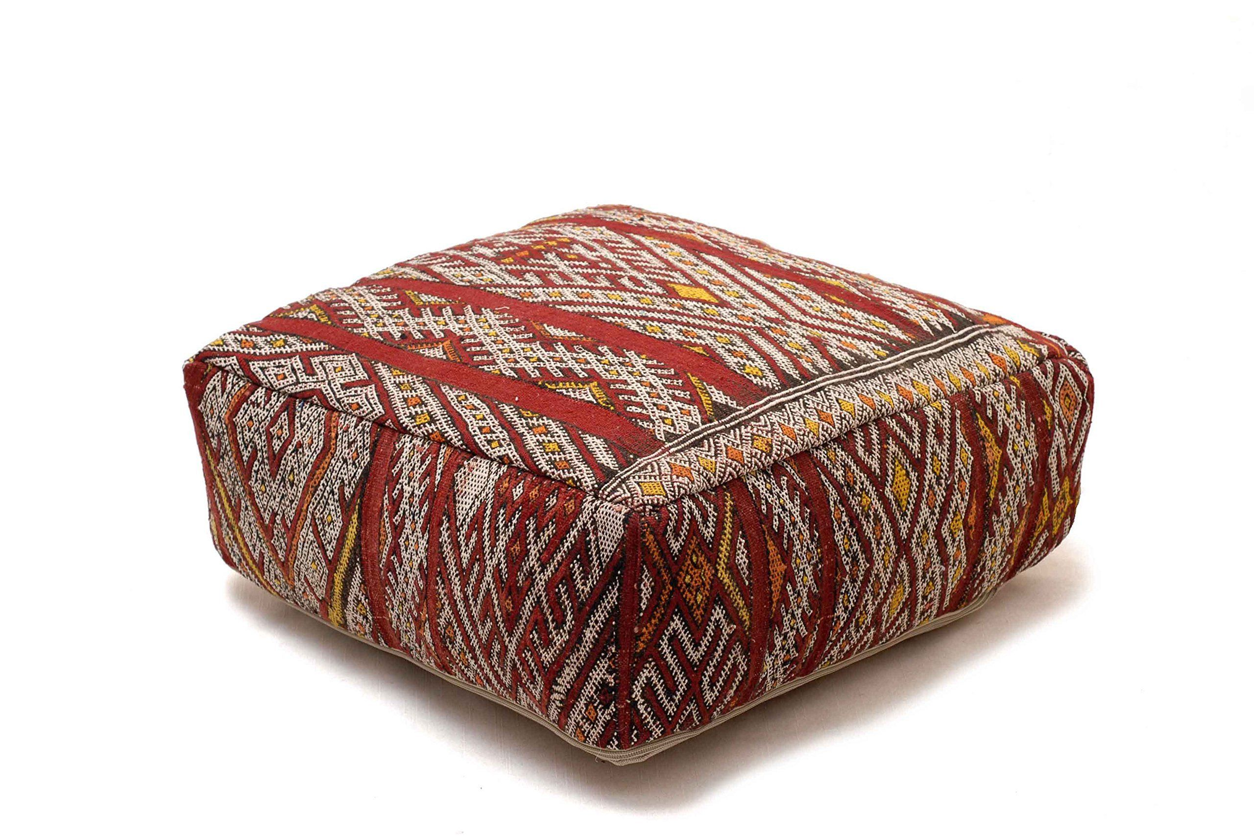 Moroccan Kilim Floor Pillow Pouf Cover Berber Handmade Bohemian