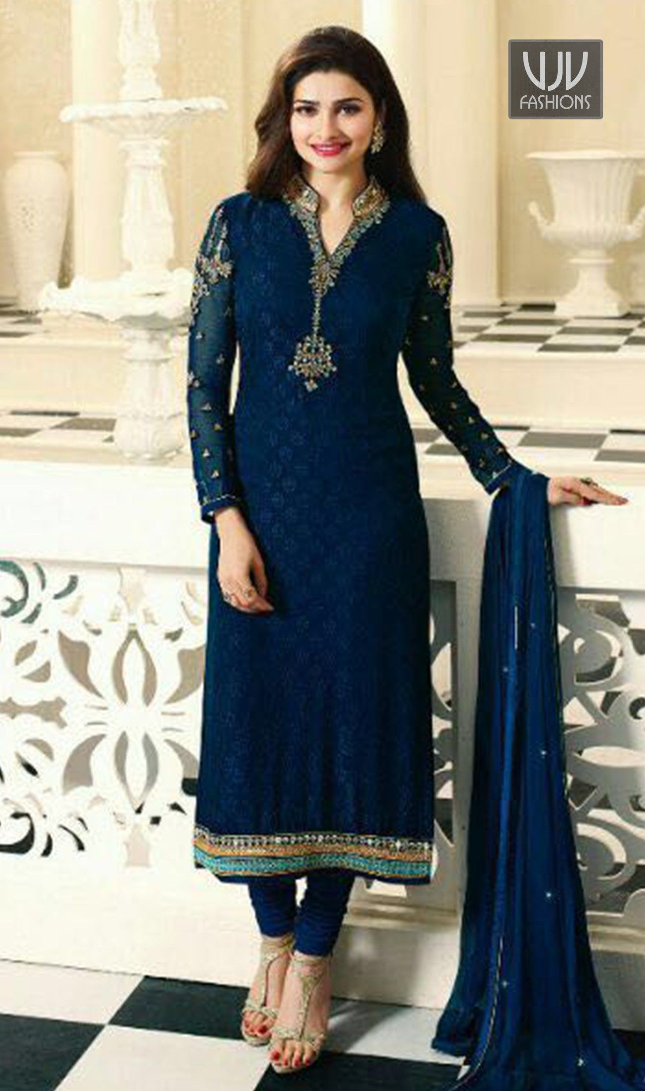 Prachi Desai Blue Color Georgette Casual Suit Be The Sunshine Of Everyone S Eyes Dressed In This Navy Dress Indian Style Saree Designs Indian Designer Outfits
