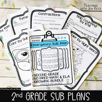 Emergency Sub Plans Distance Learning Packets for Second Grade
