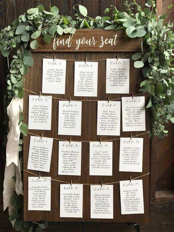 Seating Chart Wedding Table Ignments Arrangements Rustic