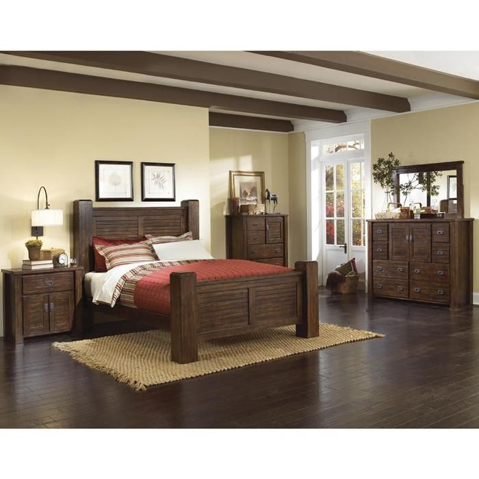Trestlewood 4-Piece King Bedroom Set in Mesquite Pine Nebraska - Poster Bedroom Sets