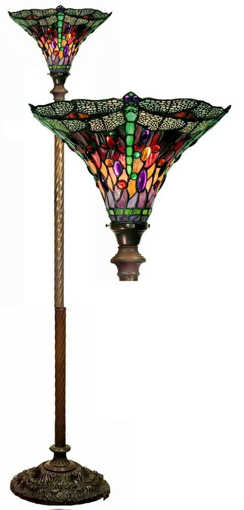Tiffany Style Vintage Dragonfly Red Purple Torchiere Stained Glass