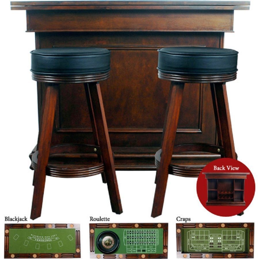 Game Table Poker Blackjack Craps Roulette Bar Height Swivel Stools Walnut  Felt #Traditional