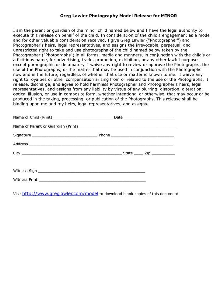 Minor model release form template photography for Photography waiver and release form template