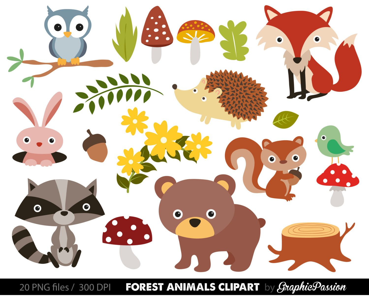 free woodland animal clipart for kids [ 1500 x 1208 Pixel ]
