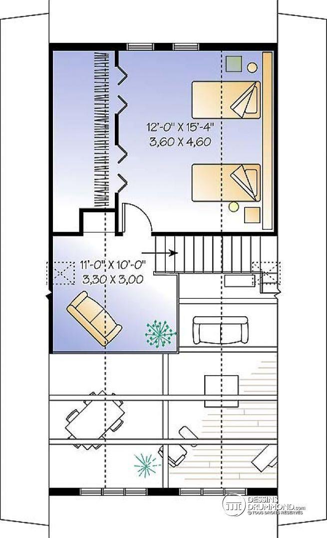 W4925 - Chalet de style A-Frame avec mezzanine et plafond cathédral