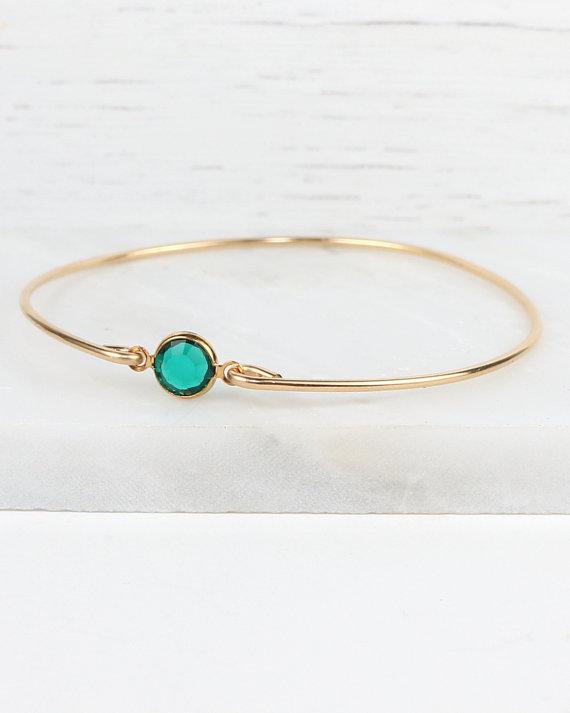 May Birthstone Swarovski Emerald Gold Bangle