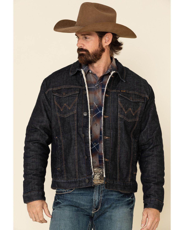 Wrangler Retro Men S Sherpa Lined Denim Trucker Jacket In 2021 Outfits For Big Men Mens Western Jackets Cowboy Outfit For Men [ 1500 x 1200 Pixel ]
