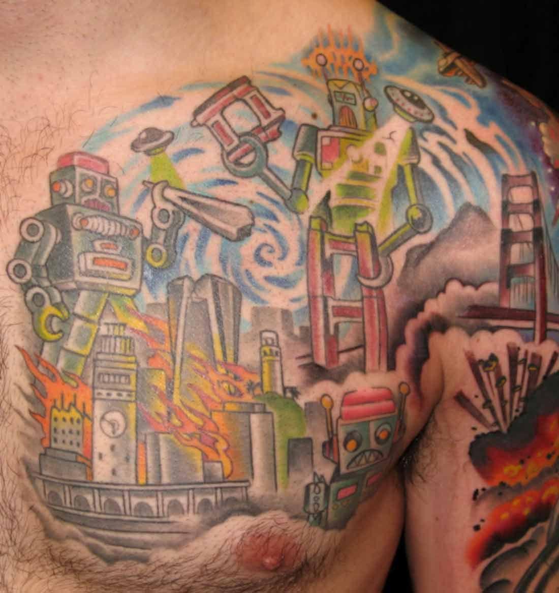 Robot Tattoo 2 Love It My Style Tattoos Biomechanical Tattoo