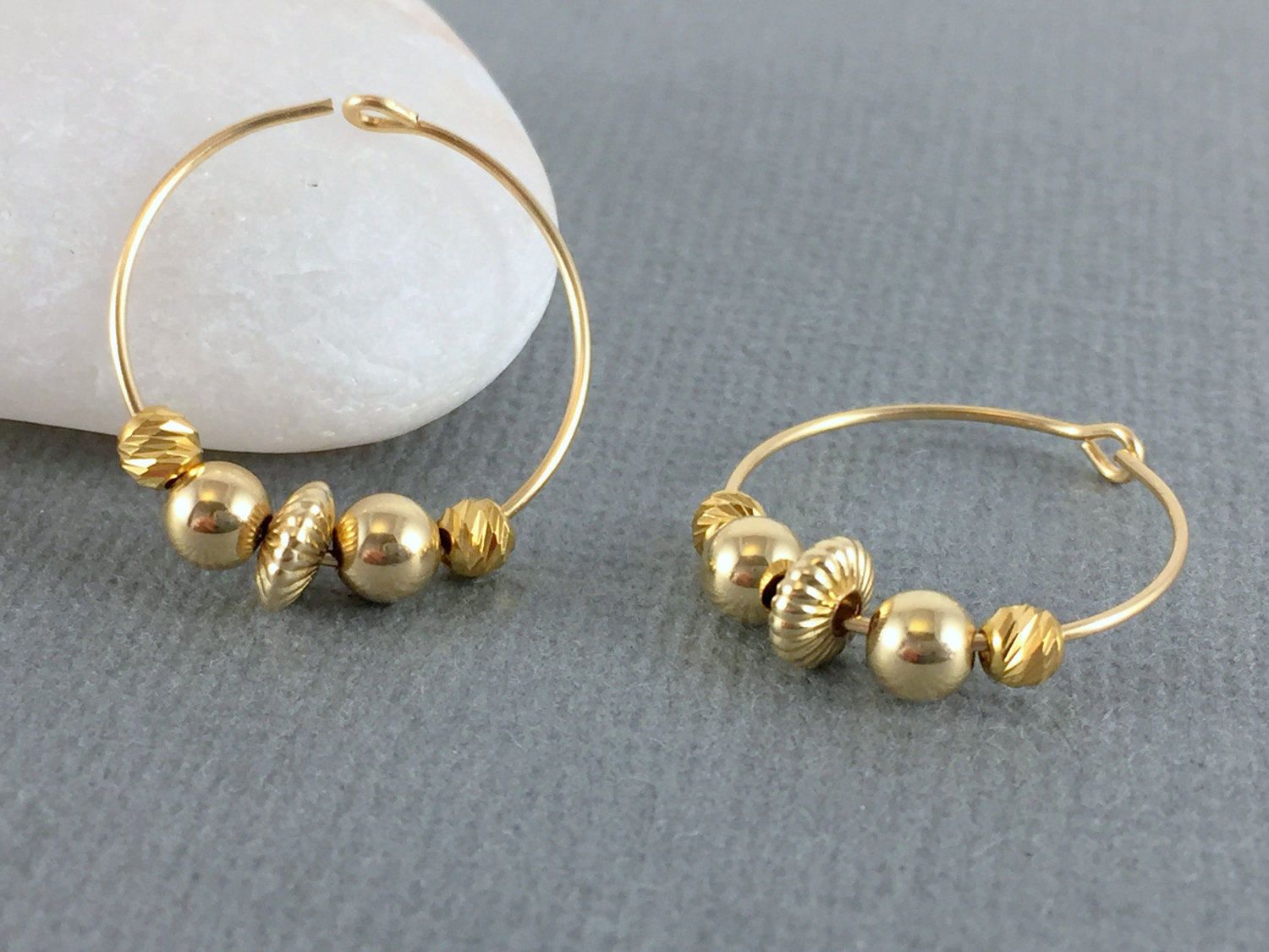 Delicate Gold Beaded Hoops, Gold Hoops, Small Hoop Earrings, Bead Hoop  Earrings, Bridesmaid Earrings, Gold Hoop Earrings, Small Gold Hoops