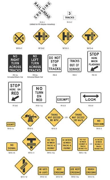 figure 11. typical crossing signs. this image shows rows of