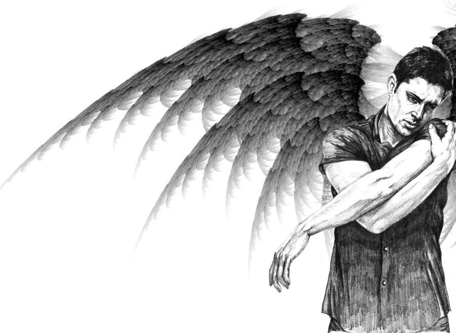 Черно белый ангел мужчина картинки