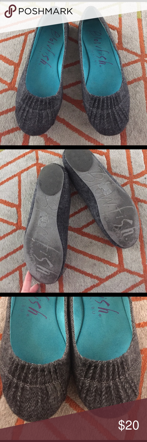 Cute gray blowfish flats! Super cute blowfish flats! Comfy, worn a few times. Smoke free home. I do own a cat but manage to keep him out of my closet. Make an offer! Blowfish Shoes Flats & Loafers