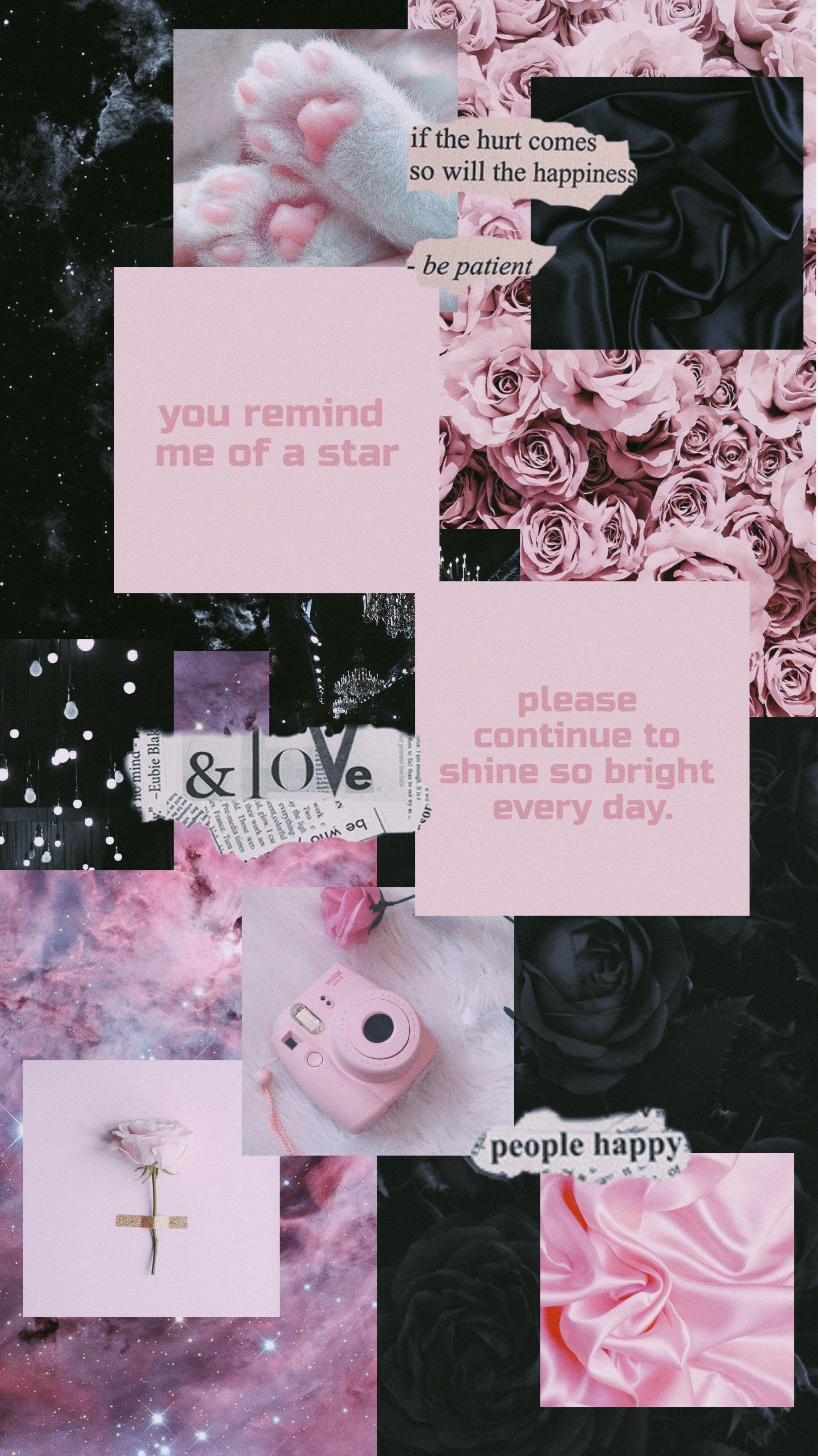 pink black wallpaper aesthetic