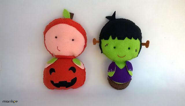 Monstrinhos em feltro :) #artesanato #feltro #monstro #decoração #molde #halloween #frankstein #abobora #festa #infantil #façavocêmesmo #diy #marrispe