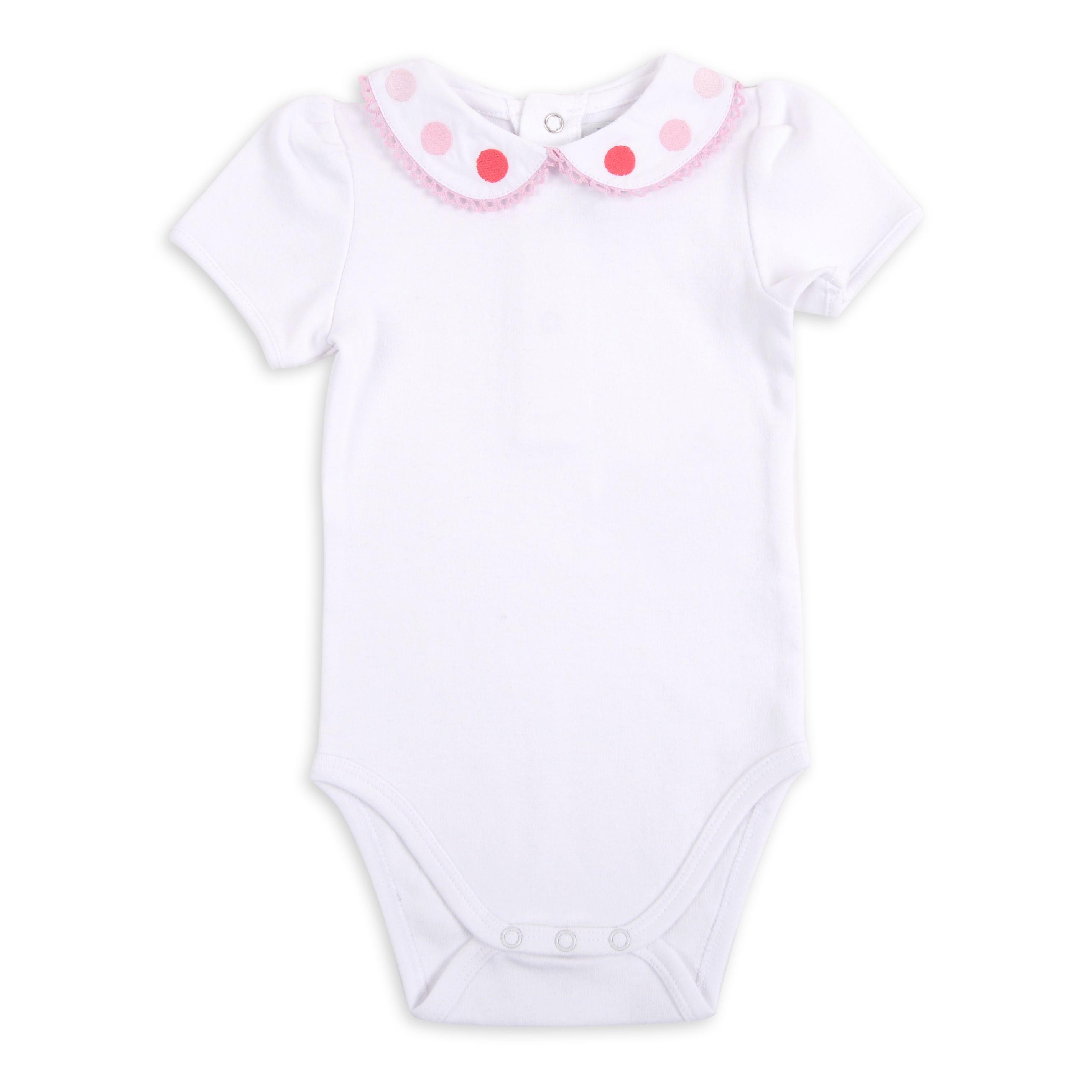 f2d824c80 Body EPK blanco para bebé niña con puntos rosados y coral en el cuello.  Encuentra este Pin y muchos más en Ropa ...