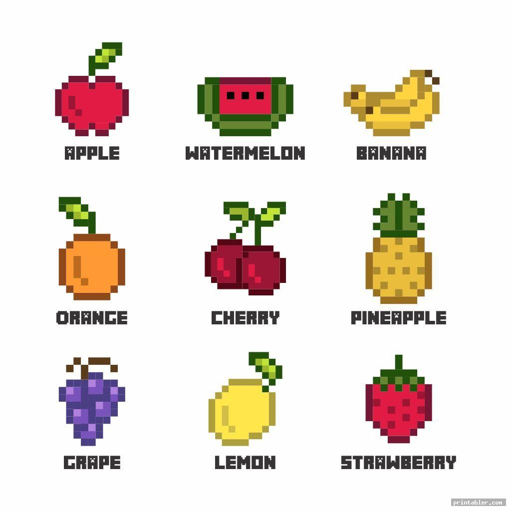 Colorful fruits minecraft food printables card check our