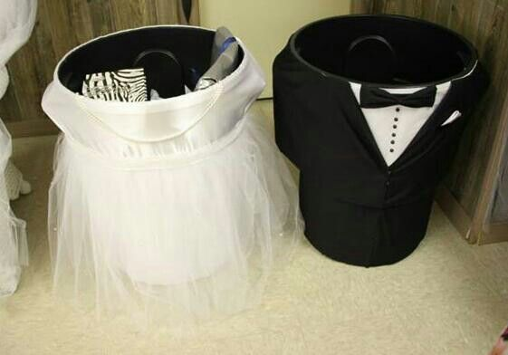 bridal shower wishing well diy trash can bride and groom