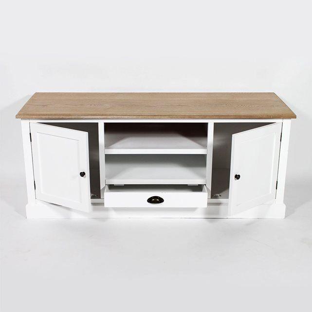 meuble tv blanc plateau bois fcj02 made in meubles prix avis notation livraison meuble. Black Bedroom Furniture Sets. Home Design Ideas